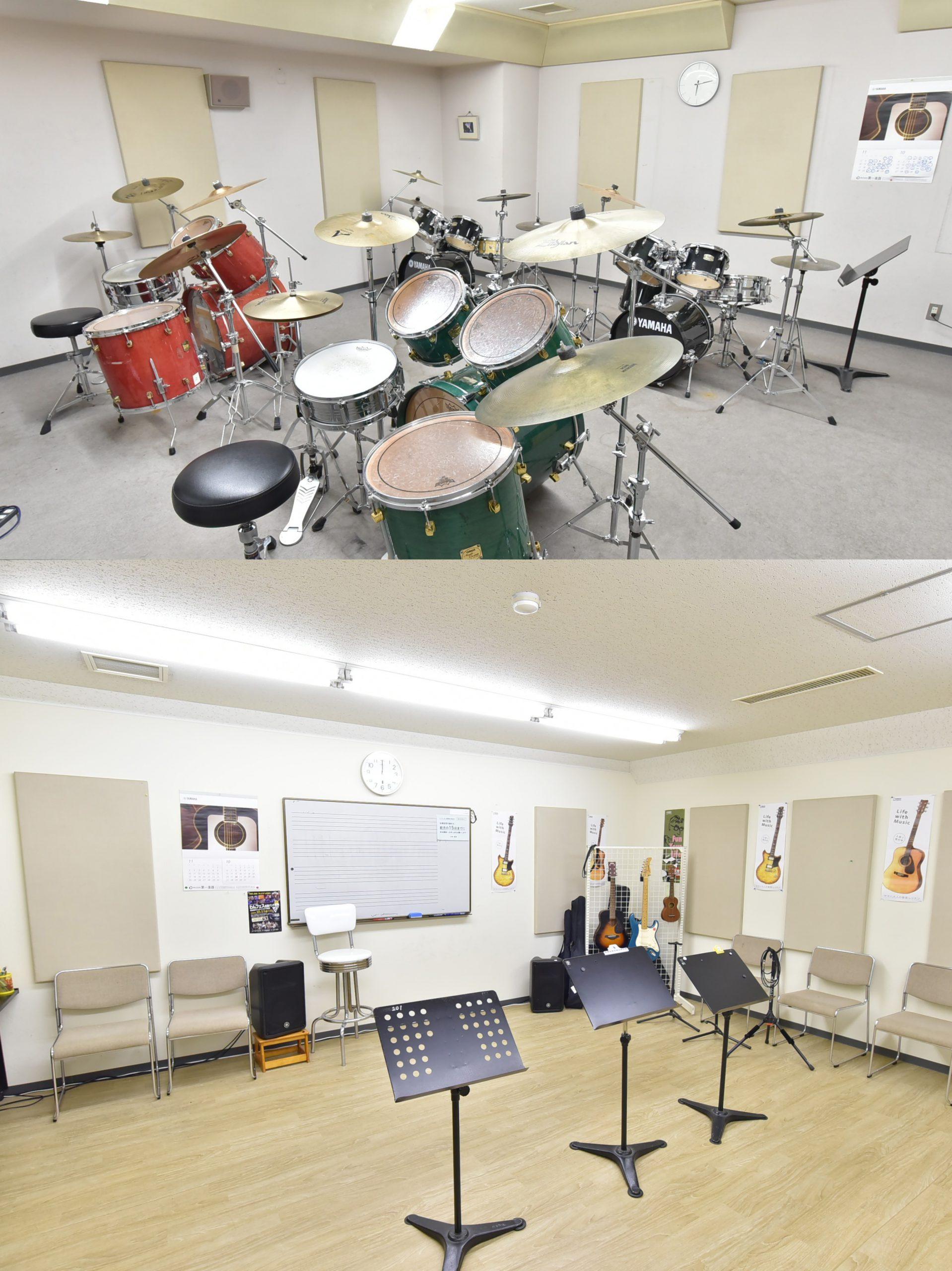 ギターやドラムのレッスンもあります